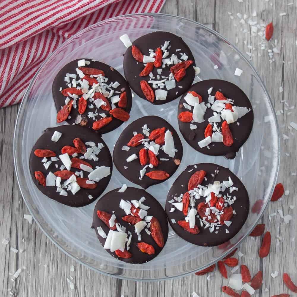 rondelles de chocolate aux baie de goji et noix de coco
